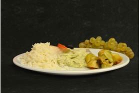 Dos de caillaud au riz et légumes de saison